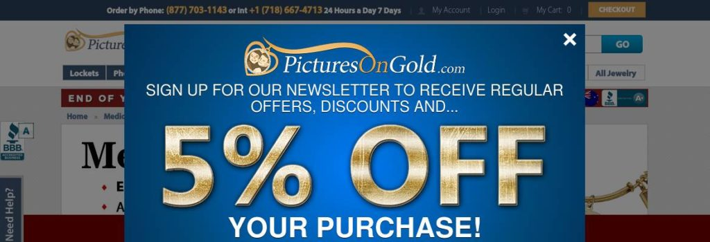 Medical jewelry 5% off at PicturesOnGold.com