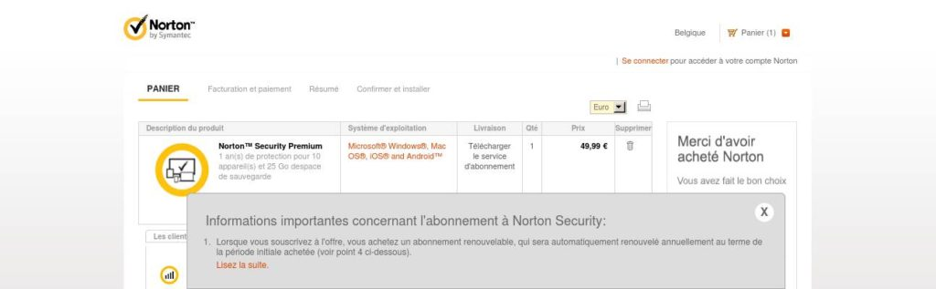 BE Français - Norton Security Premium - 15€ de réduction (Cart)