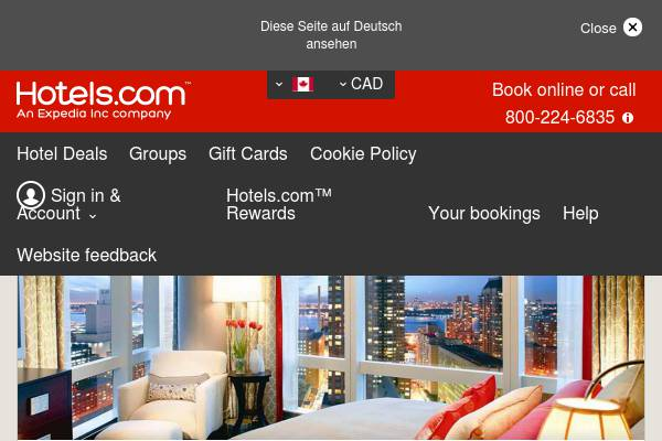 CA Hotels.com: Save $10 when you spend $100+ with code 10OFFCAD. Book by 6/30/17. Travel by 9/30/17.